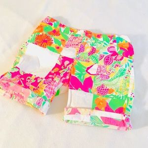 Lilly Pulitzer Girls Pink Floral Patch Shorts